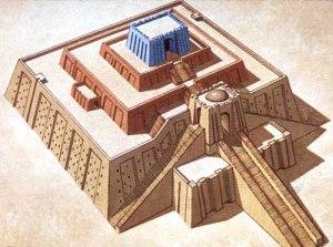رسم يتوقع شكل زاقورة أور الاصلي قبل ان تتهدم و تصبح على الشكل الحاضر