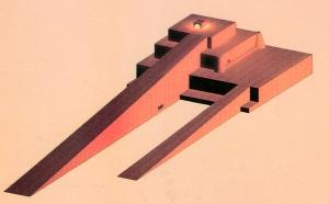 رسمة ثلاثية الأبعاد تصور إحدى الزقورات