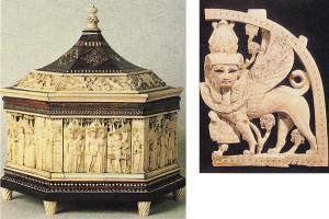 صندوق مزين بالعاج وكائن خرافي من العاج