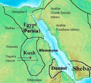 خريطة موضح عليه موقع كوش بالنسبة لمصر