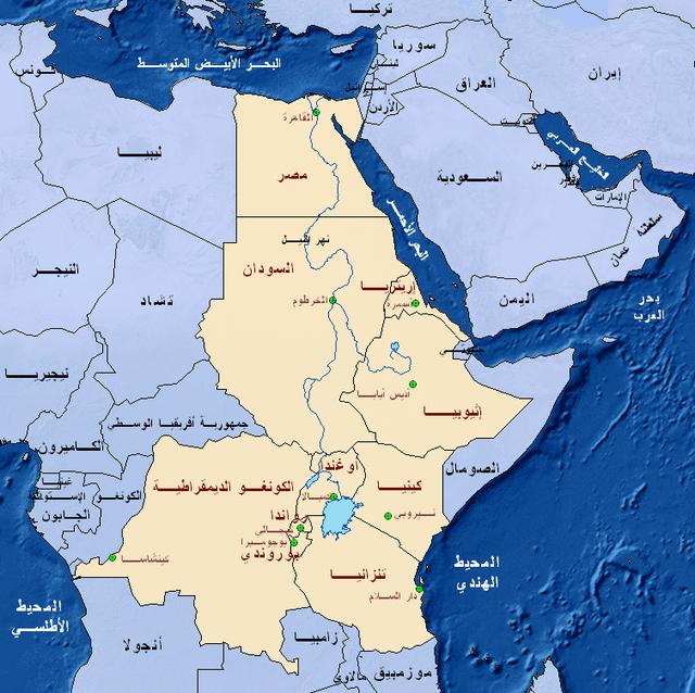 خريطة دول حوض النيل